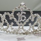 Sweet Happy Birthday 16 Silver Rhinestone tiara;Fancy Headpiece;Dancer regal;Girls Tiaras #7595