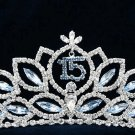 15 Sweet Happy Birthday Silver Rhinestone tiara;Fancy Headpiece;Dancer regal;Girls Tiaras #1038b