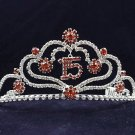 Sweet Happy Birthday 15 Silver Rhinestone tiara;Fancy Headpiece;Dancer regal;Girls Tiaras #1041