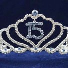 Sweet Happy Birthday 15 Silver Rhinestone tiara;Fancy Headpiece;Dancer regal;Girls Tiaras #1044