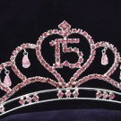 Sweet Happy Birthday 15 Silver Rhinestone tiara;Fancy Headpiece;Dancer regal;Girls Tiaras #1051p