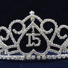 Sweet Happy Birthday 15 Silver Rhinestone tiara;Fancy Headpiece;Dancer regal;Girls Tiaras #1050