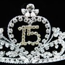 Sweet Happy Birthday 15 Silver Rhinestone tiara;Fancy Headpiece;Dancer regal;Girls Tiaras #1326gr
