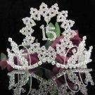 Sweet Happy Birthday 15 Silver Rhinestone tiara;Fancy Headpiece;Dancer regal;Girls Tiaras #1001