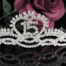 Sweet Happy Birthday 15 Silver Rhinestone tiara;Fancy Headpiece;Dancer regal;Girls Tiaras #1011