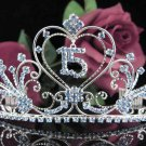 Sweet Happy Birthday 15 Silver Rhinestone tiara;Fancy Headpiece;Dancer regal;Girls Tiaras #1012