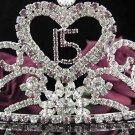 Huge Sweet Happy Birthday 15 Silver Rhinestone tiara;Fancy Headpiece;Dancer regal;Girls Tiaras #1013