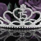 Sweetheart Happy Birthday 15 Silver Rhinestone tiara;Fancy Headpiece;Dancer regal;Girls Tiaras #1027