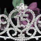 Huge Sweet Happy Birthday 15 Silver Rhinestone tiara;Fancy Headpiece;Dancer regal;Girls Tiaras #1030