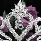 Sweetheart Happy Birthday 16 Silver Rhinestone tiara;Fancy Headpiece;Dancer regal;Girls Tiaras #1035