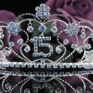 Sweetheart Happy Birthday 15 Silver Rhinestone tiara;Fancy Headpiece;Dancer regal;Girls Tiaras #1034