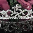 Cute Sweet Happy Birthday 15 Silver Rhinestone tiara;Fancy Headpiece;Dancer regal;Girls Tiaras #1040