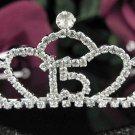 Cute Sweet Happy Birthday 15 Silver Rhinestone tiara;Fancy Headpiece;Dancer regal;Girls Tiaras #1045