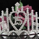 Sweet Happy Birthday 15 Silver Rhinestone Cute tiara;Fancy Headpiece;Dancer regal;Girls Tiaras #1052