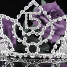 Huge Sweet Happy Birthday 15 Silver Rhinestone tiara;Fancy Headpiece;Dancer regal;Girls Tiaras #1054
