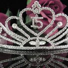Huge Sweet Happy Birthday 15 Silver Rhinestone tiara;Fancy Headpiece;Dancer regal;Girls Tiaras #1055