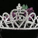 Round Sweet Happy Birthday 15 Silver Rhinestone tiara; Headpiece;Dancer regal;Girls Tiaras #1060