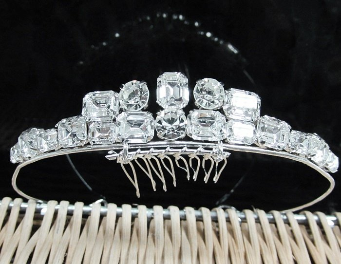 Dancer Opera Tiara;Wedding Silver Tiara;Bridal headpiece;Rhinestone Bridesmaid Tiaras#4719