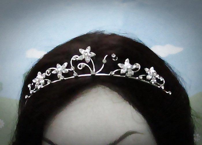 Fancy Silver Regal ;Dancer Opera Tiara;Wedding Silver Tiara;Bridal imperial#4724