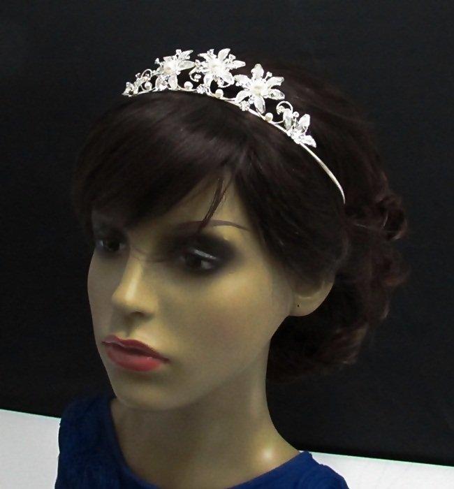 Dancer Opera Tiara;Delicate Headpiece;Wedding Silver Tiara;Bridal imperial#1637