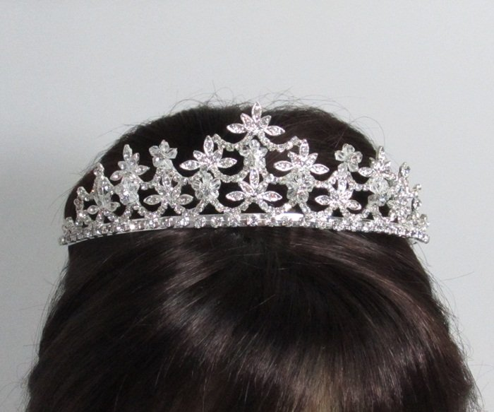 Elegance Headpiece;Dancer Opera Fancy Tiara;Wedding Silver Tiara;Bridal imperial#9427