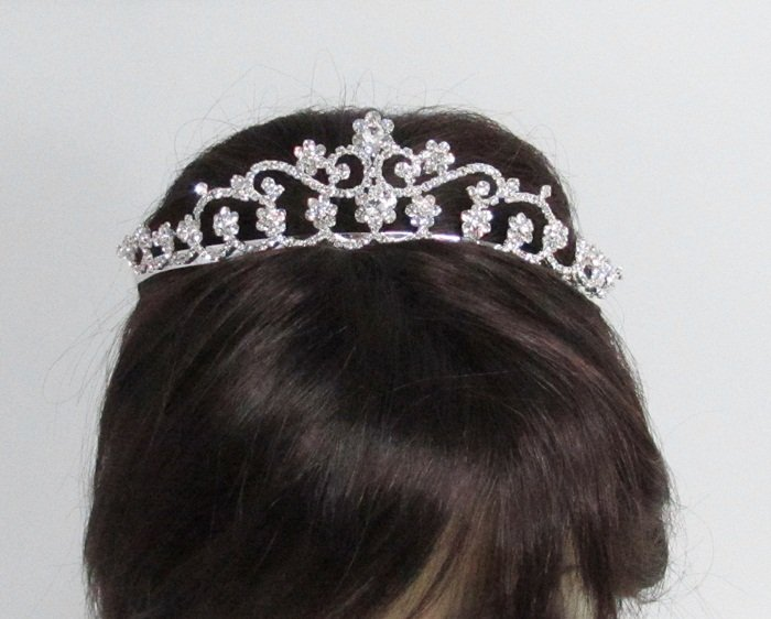Elegance Headpiece;Dancer Opera Fancy Tiara;Wedding Silver Tiara;Bridal imperial#9801