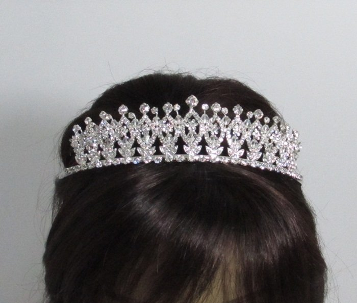 Elegance Headpiece;Dancer Opera Fancy Tiara;Wedding Silver Tiara;Bridal imperial#10530