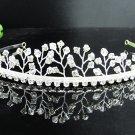 Fancy Silver Headpiece;Dancer Opera Tiara;Wedding Silver Tiara;Bridal imperial#8642