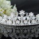 Bridal imperial;Fancy Headpiece;Fashion Dancer Opera Tiara;Silver Elegance Wedding Regal#1882