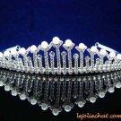 Fashion Dancer Opera Tiara;Fancy Headpiece;Bridal imperial;Silver Elegance Wedding Regal#6561