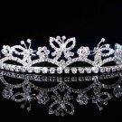 Fashion Dancer Opera Tiara;Fancy Headpiece;Bridal imperial;Silver Elegance Wedding Regal#6979