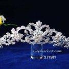 Fancy Headpiece;Fashion Dancer Opera Tiara;Bridal imperial;Silver Elegance Wedding Regal#1581