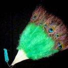 Coquet Rooster Peacock eye marabou feather Fan;Bridal Party Chandelier Fluffy Fan;ncer #5gr