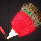 Coquet Rooster Peacock eye marabou feather Fan;Bridal Party Chandelier Fluffy Fan;ncer #5r