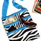 SWDSI1054 Black w/White Zebra Print Crossbody Purse Blue Trim