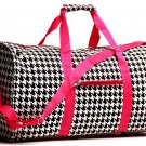 "20"" White with Black Houndstooth Print Duffle Bag  SWDSI1017"