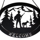 Large Metal Welcome Hunter with Dog Sign - SWIWG   0170-16002