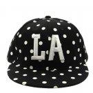 SWRUBNLH2283BKW - BLACK/WHITE LETTER LA  HAT AND CAP