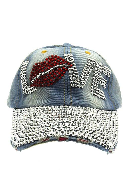 SWRUBNLH2306RDBLU - BLUE LOVE AND LIP LUCITE STONE  HAT AND CAP