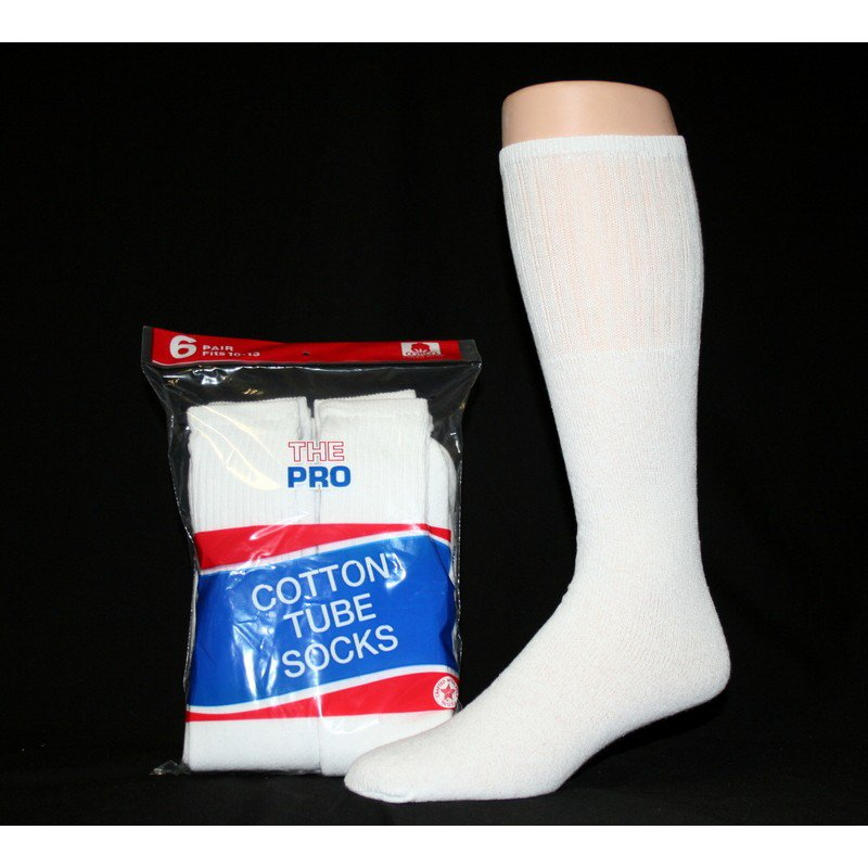 SIZE 10-13  1 DOZEN MEN'S TUBE SOCKS, WHITE  SWALSKT10WHT