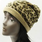 SWRUBDAH2897BRO - LEOPARD PRINT WINTER BEANIE HAT AND CAP