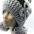 SWRUBBTH50721GRY- EAR FLAP WINTER BEANIE HAT AND CAP