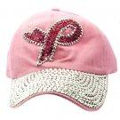 SWRUBKYH8175RDPNK - BREAST CANCER AWARENESS RIBBON HAT AND CAP