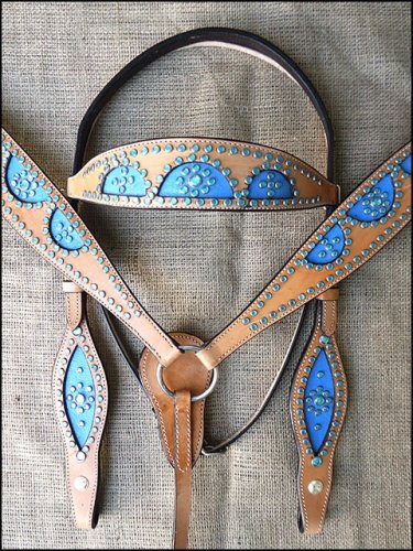 WESTERN LEATHER HORSE BRIDLE HEADSTALL BREAST COLLAR TAN W/ BLUE INLAY - SWHILAS-HSZT120-a1