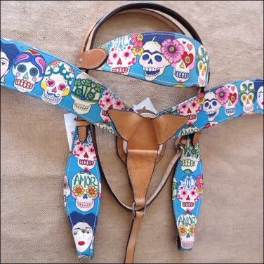 T60 WESTERN LEATHER HORSE HEADSTALL BRIDLE BREAST COLLAR SET FUN PRINT - SWHILAS-HSZT160