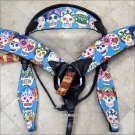 WESTERN LEATHER HORSE BRIDLE HEADSTALL BREAST COLLAR FUN PRINT BLACK - SWHILAS-HSZT160BK