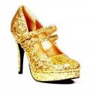 "Size 9 Glitter Gold Mary Jane Show with 4"" Heel - SWWHC-E421JANE-G"