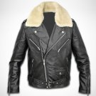 Men lamb leather  with fur collar jacket by Ruby Leather