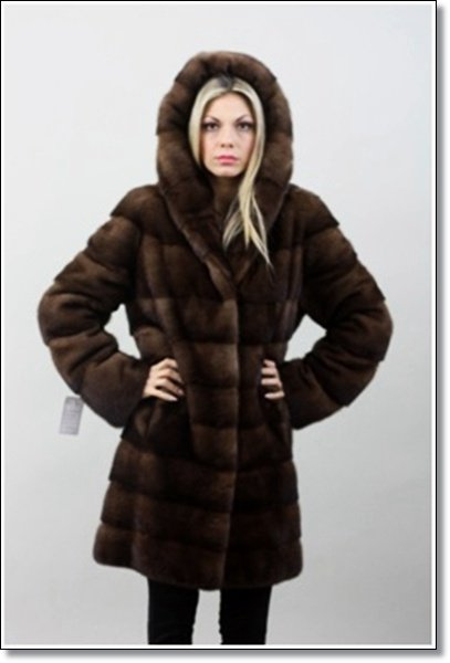 Mahogany Hooded Mink Fur Coat For Women,mink  fur coat for women