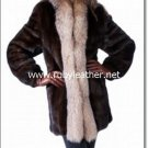 WOMEN FUR coat with fox fur collar,mink  fur coat for women, fox fur coat